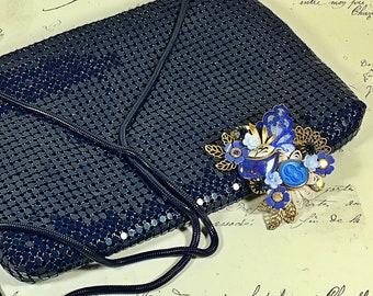 Vintage Carla Marchi glomesh metal mesh evening purse bag navy retro clutch