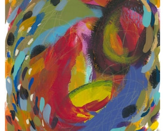 "Small Abstract Painting on Paper: ""Summer Carnival V"""