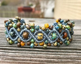 SALE Micro-Macrame Beaded Bracelet - Blue Picasso
