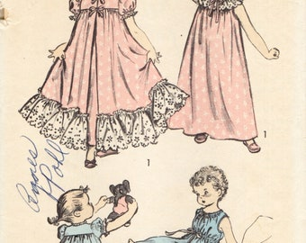 Advance 6272 Nightgowns and Robe FRILLY 1950s Size 4