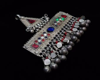 "Vintage Kuchi Tribal Hair Adornment Tikka Barrette Unique Ethnic Jewelry 3.5"""