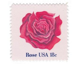 1981 18c Flowers Series - Rose - 10 Unused Vintage US Postage Stamps - Item No. 1876