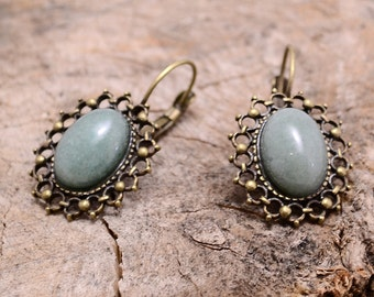 Light green aventurine copper earrings, Aventurine earrings, Aventurine copper earrings, Green aventurine earrings, Aventurine drop earrings