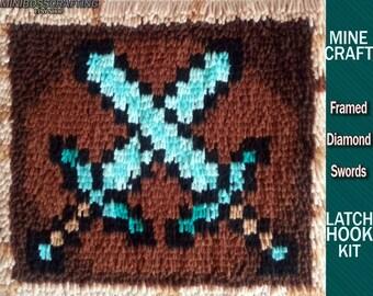 Minecraft Crossed Diamond Swords in Frame - Latch Hook Kit - DIY Latch Hook Rug 13.5*11.5