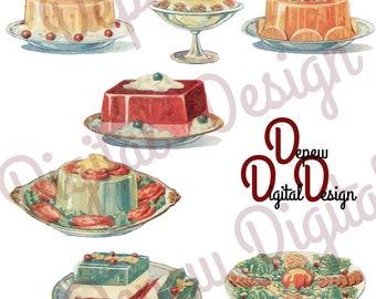 Digital Vintage Food Illustration Gelatin Deserts & Snacks Clip Art - Print at Home Decor - INSTANT DOWNLOAD