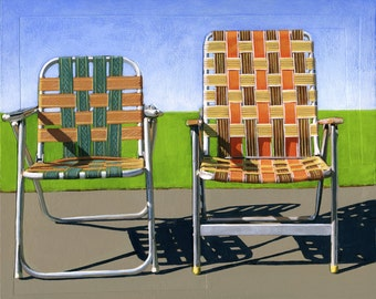 Summer Chairs (orange) - limited edition giclee print 87/100 - As seen in WEST ELM catalog