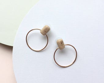 Large circle stud earrings, copper earrings minimal, blush earrings, open circle studs, polymer clay jewelry, gift for women, gift ideas