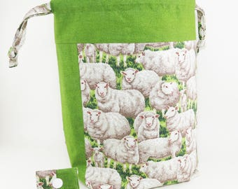 "Knitting Project Bag - New! ""Peaceful Grazing Sheep"" Large Drawstring Project Bag (V)"