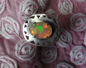 Silver 925 welo opal ring, Ethiopian opal all fire, ring African Opal