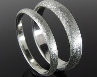 Half Round Sterling Silver Band Ring Set, Silver Wedding Ring Set, Silver Wedding Band Set, 4 x 2 mm, 2.4 x 1.2 mm, Heavily Brushed Finish