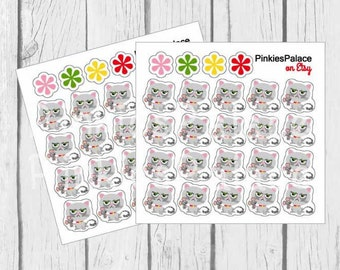 Cat Planner Stickers Gray Kitty Cat Stickers PS458