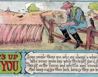 Vintage Comic Postcard Illustrated 1900's Estate Sale Collectible Paper Ephemera