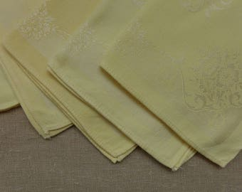 5 Vintage Yellow Cotton Jacquard Napkins