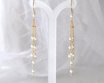 Freshwater Pearl earrings, Peal Gold earrings, June Birthstone Jewelry, Weddings, Bridal Jewelry, Long earrings, Bridesmaid Gift Set,