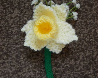 Hand knitted Daffodil buttonhole, flowers, artificial flowers, buttonhole, corsage,  wedding