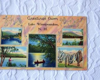 Vintage 1953 Greetings from  Lake Winnipesaukee New Hampshire Postcard, linen postcard, Tichnor Postcard, Greetings Postcard,