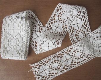 "Antique french lace, 1930s, Vintage, Handmade, Crochet, Dentelle ancienne, White cotton, Wedding, 84.6"""