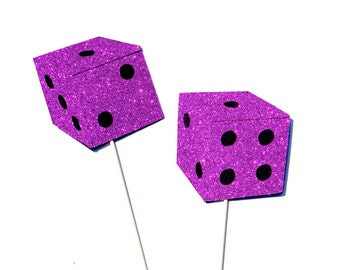 Photo Booth Props - Pair of Dice - Pink Glitter Bunko Dice - Set of 2 Props with GLITTER - Hot Pink Glitter