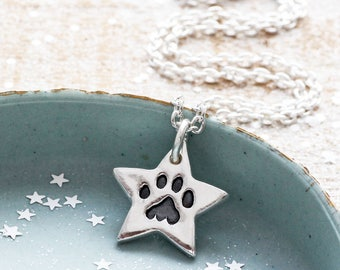 Star Paw Print Necklace, Paw Print Jewellery, Pawprint Necklace, Pet Loss Gift Ideas, Pet Loss Gifts Cat, Gift for Cat Lover, Pet Memorial