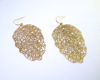 Golden Leaf Filigree Earrings Long Autumn Leaves Dangle Everyday Earrings (130)
