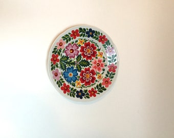 Folk Art Hand Painted Plate with Flowers - Yugoslavia Painted Plate
