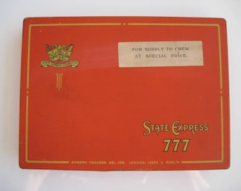 State Express 777 cigarette tin (50/empty) by Ardath Tobacco c.1940/50