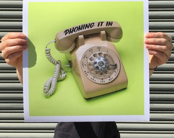 "Phoning It In - digital art print 12""x12"""