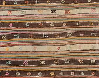 Turkish Rug 5x8 Pink Wool Pile Large Vintage Kilim Rug Hand Knotted Semi Antique Area Rug - HANA0508