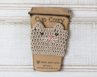 Ready to Ship: Tan Kitty Cup Cozy Crochet Cup Cozy Cat Coffee Cozy Crochet Cat Mug Cozy Reusable Cup Sleeve Stocking Stuffers Under 10