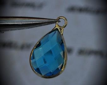 Gold Plated Bezel Brass Faceted Glass Tear Drop Pendant - Capri Blue