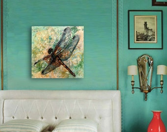 Dragonfly Art | Modern Abstract Contemporary Watercolor Painting art |  green yellow gold
