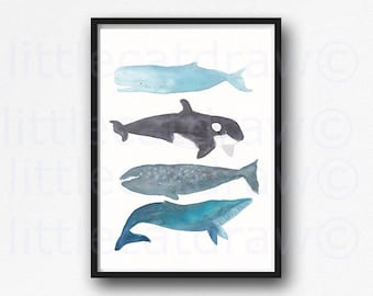 Whale Stack Watercolor Painting Art Print Whale Print Beach Wall Art Whale Nautical Decor Whale Gift Whale Art Whales Unframed