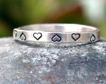 Simple Thin Sterling Silver Band - Hearts