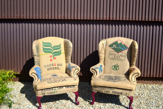 Bon Custom Upholstered Vintage Wingback Chairs Upcycled With Clean