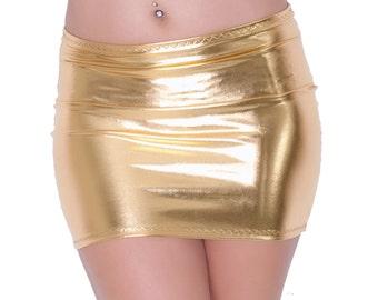 Gold Mini Skirt Metallic Shiny Wet Look Lycra Spandex Party Bodycon Clubwear S106
