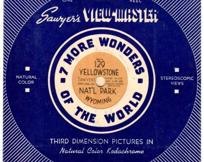 Yellowstone National Park Wyoming Reel #129 Sawyer's VIEW-MASTER 1940's 3D Tan Hand Lettered