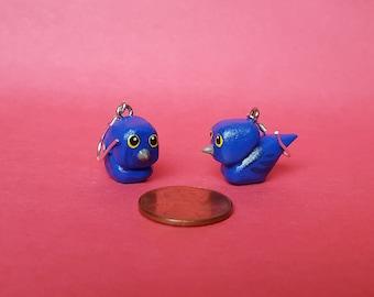 Hand Carved Bird Earrings (Indigo Buntings)