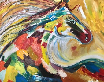 Colorful horse oil painting