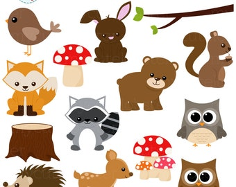 Woodland Clipart Set - clip art set of woodland animals, trees, mushrooms - personal use, small commercial use, instant download