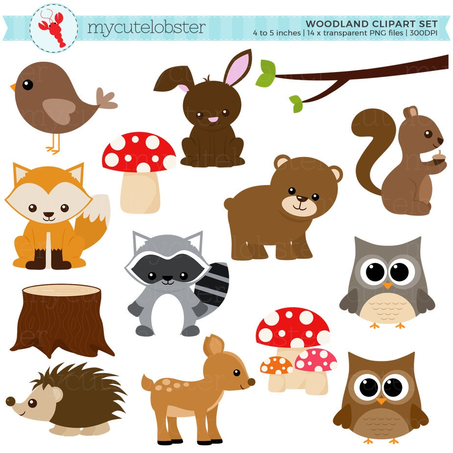 Woodland clipart set clip art set of woodland animals for Embroidery office design version 9