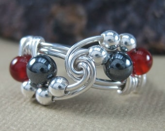 Wire Wrapped Ring Sterling Silver Hematite and Carnelian Two Tone Vortex