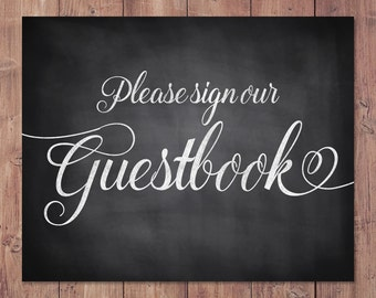 Rustic wedding guestbook sign - 8x10 - 5x7