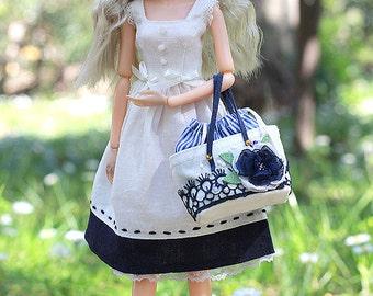 Ivory+Dark blue Linen Dress sleeveless Dress for Momoko doll 1\6