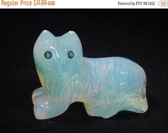20% OFF Opalite feline kitty cat lapidary carving statue 5261C