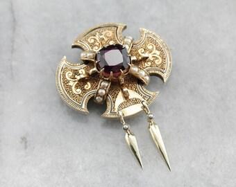 Victorian Era Rhodolite Garnet Brooch, Antique Gold Brooch, Victorian Estate Jewelry VX5HVY-R