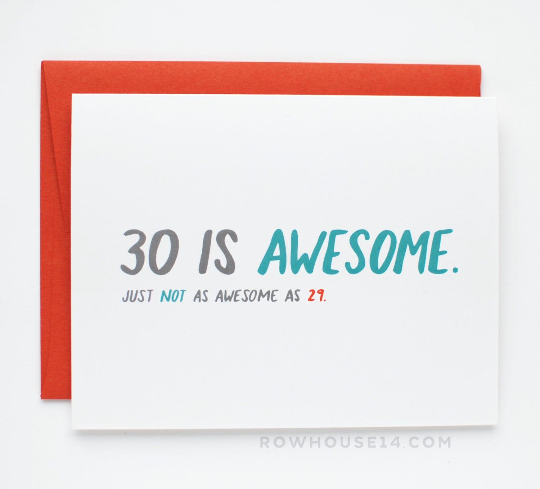 30th Birthday Card Thirtieth Birthday Card Funny Birthday