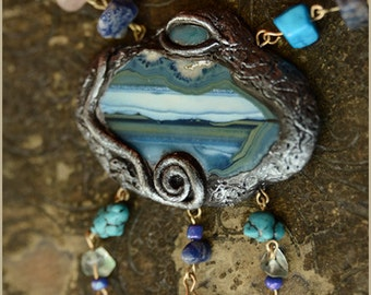 See Mermaid Mare Agate necklace with shell sodalite and turquoise - handsculpted - Handmade jewelry sculpt