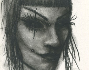 Original Charcoal Drawing Alternative Goth Girl Portrait
