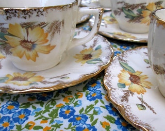 Child's Teacups and Saucers, Set of 6, Ironstone, Sunflowers