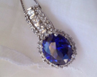 Sterling and simulated sapphire pendant necklace